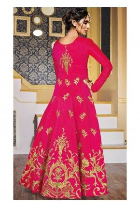 0e0e8843f4 Hot Pink and Gold Embroidered Anarkali Gown | Ethnicity | Designer ...