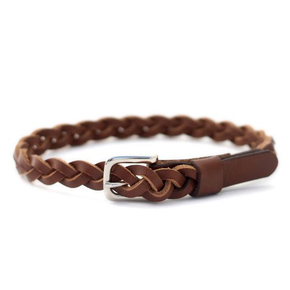Baby And Toddler Girls Leather Braided Belt Brown