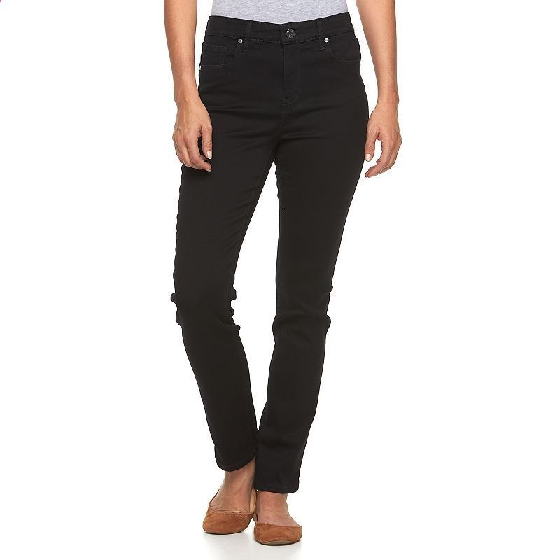 Womens Gloria Vanderbilt Bridget Midrise Slim Straight-Leg Jeans, Size: 18 Avg/Reg, Grey (Charcoal)