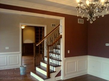 Marvelous Stairs, White Paneling, Two Toned Stairs, White Crown Molding, Chandelier,  Painted