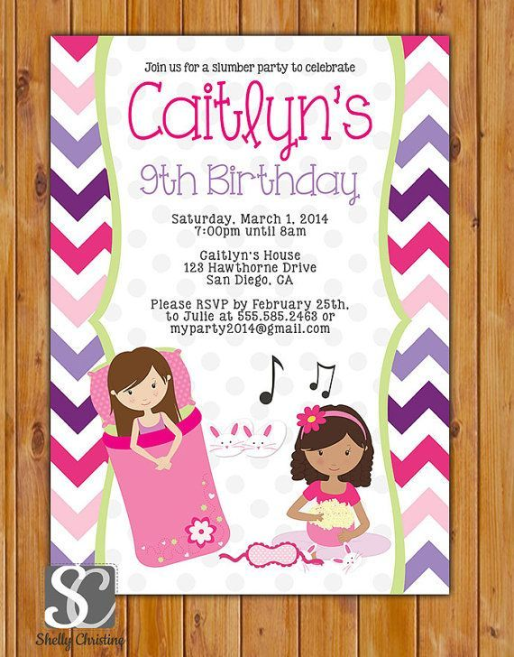 9 Year Old Birthday Invitation Wording Sleepover Slumber Party