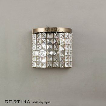 Diyas IL30091 Cortina Wall Lamp 2 Light Antique Brass/crystal. £105 Lights  To Go (sitting Room / Dining Room)