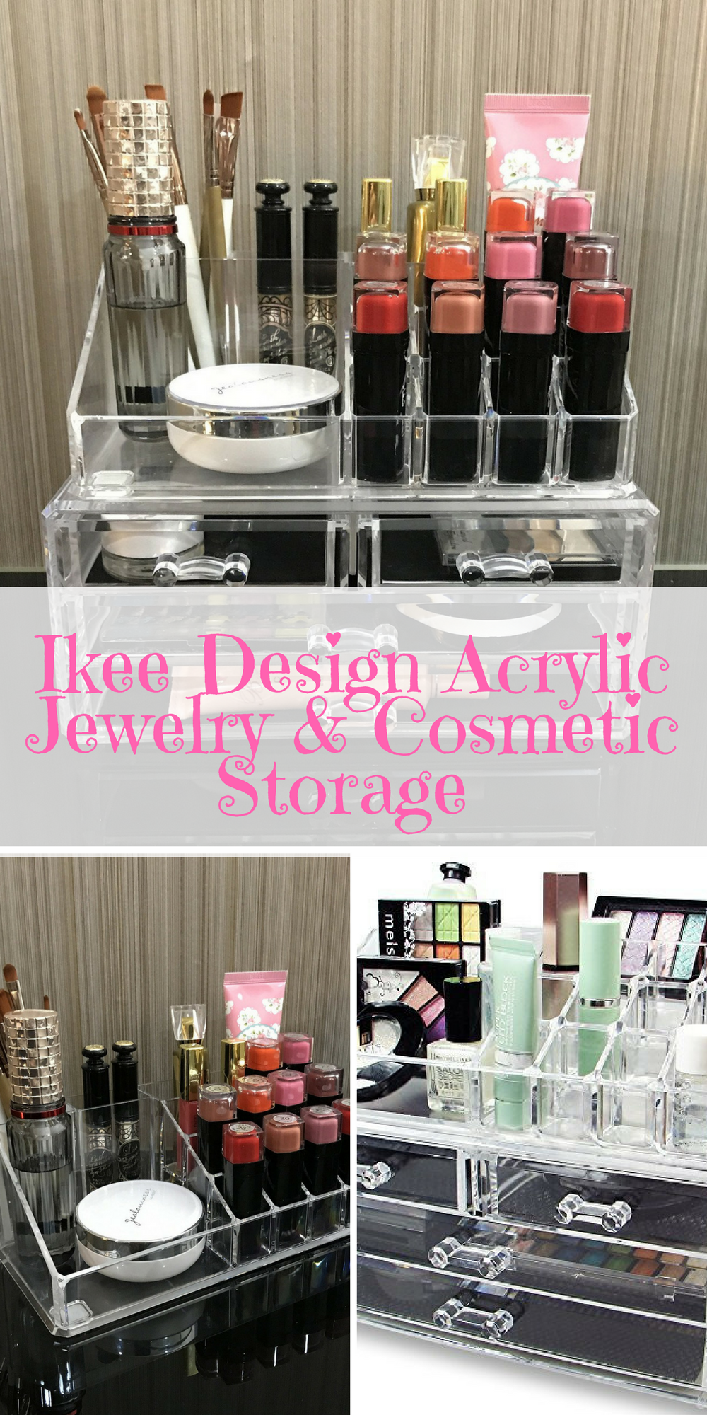 Ikee Design Acrylic Jewelry Cosmetic Storage Stores And Organizes All Jewelry And Cosmetics In One Place Ama Diy Beauty Hacks Beauty Hacks Diy Skin Care