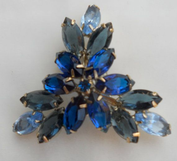 1950s Gradation Blue Triangular Rhinestone Brooch Shiny Unique. $19.00, via FamilyJewelsNYC.etsy.com #vintage