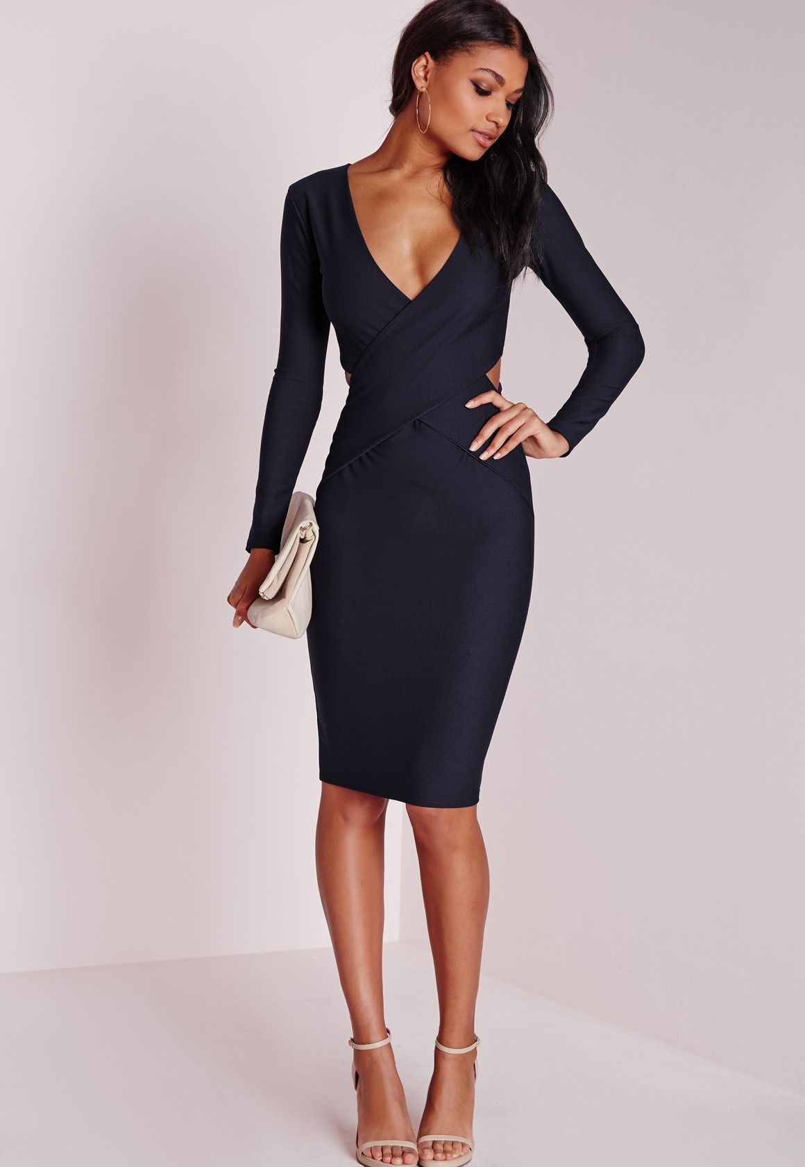 2cd942b0ed5 Missguided - Cut Out Bodycon Dress Navy Robe Moulante Bleu Marine
