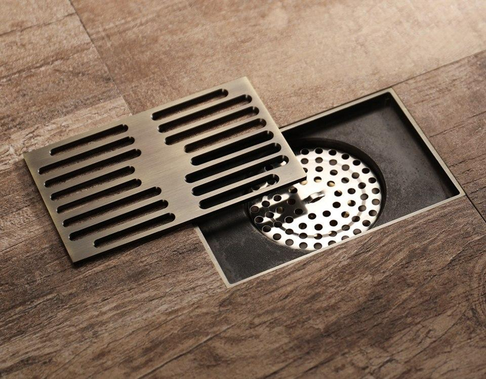 Antique Bronze Rectangular Floor Drain Cover Floor Drains Drain Cover Cottage Style Bathrooms