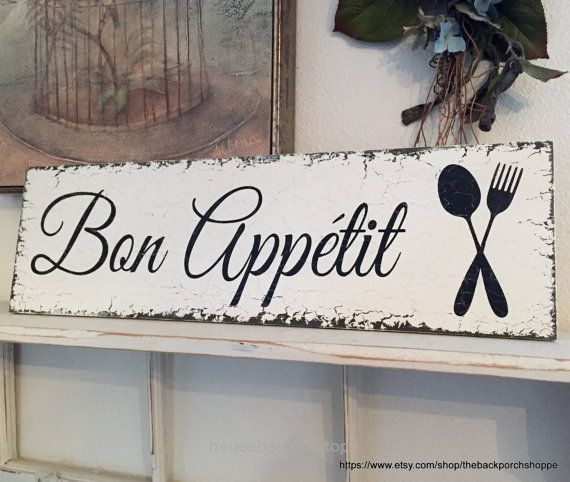 BON APPETIT, French Signs, Kitchen Signs, Bon Appetit Signs, Home Decor,