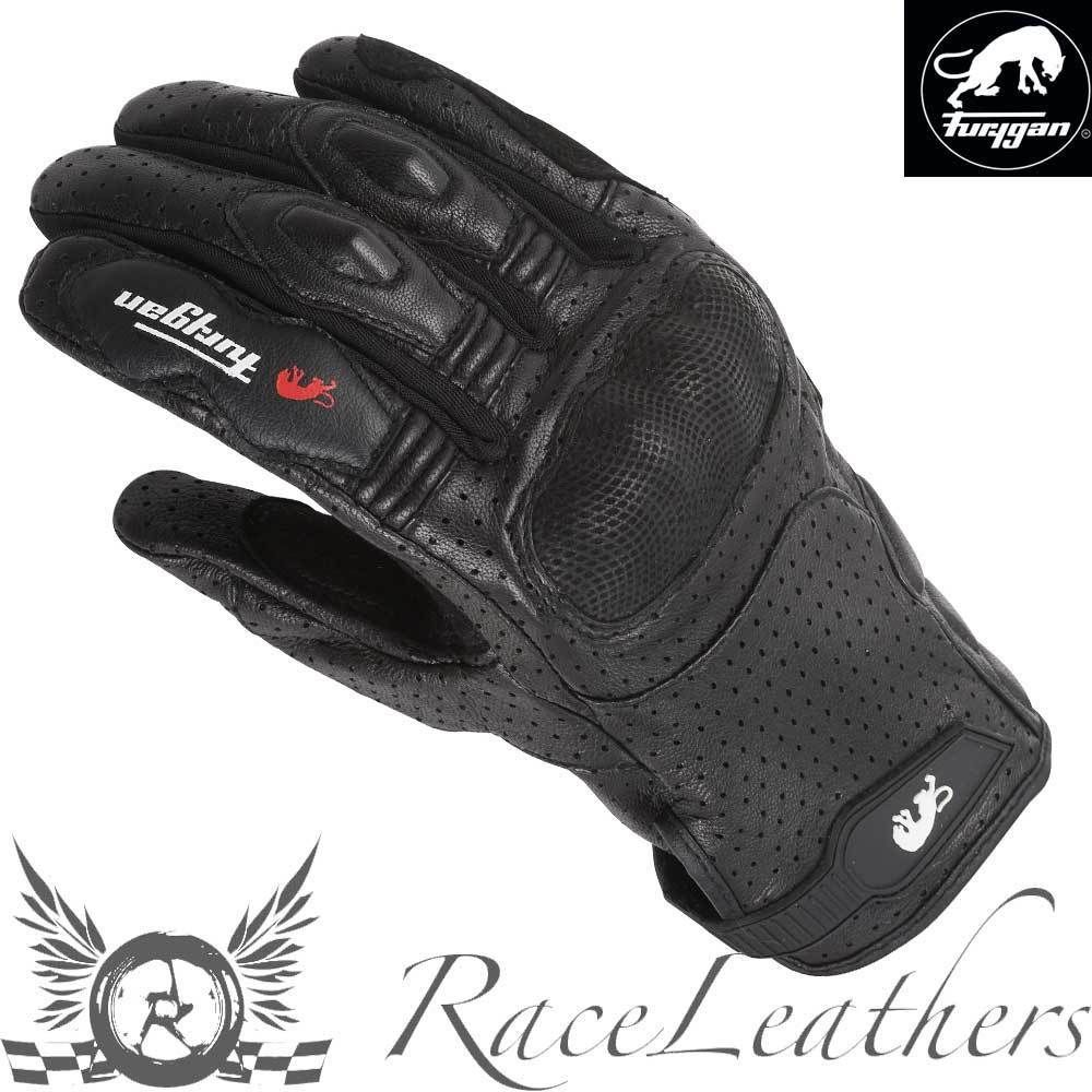 Motorcycle gloves dubai - Furygan Td21 Black Short Perforated Leather Motorcycle Motorbike Bike Gloves
