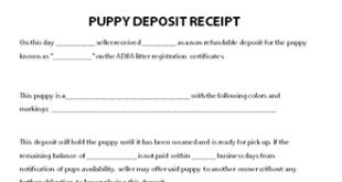 Puppy Deposit Receipt Template