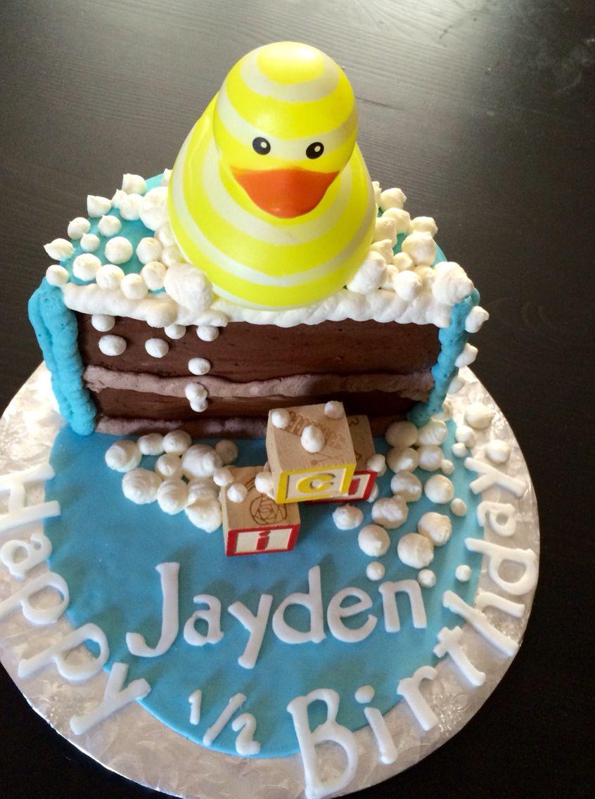 6 Month Old 1 2 Of A Year Birth Happy Birthday Cake Fondant