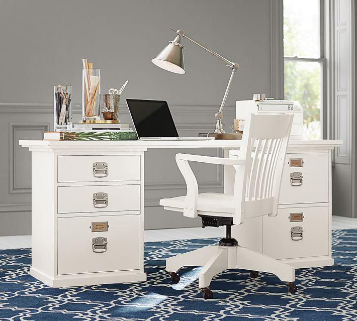 Bedford Rectangular Desk Set - Bedford 5- Drawer Rectangular Desk, Antique White Bedford Town