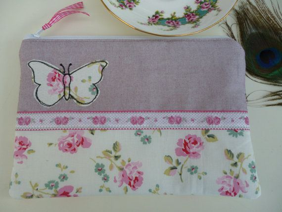 Handmade Cosmetic Makeup Bag Purse Butterfly Applique Embroidered design motif, Cath Kidston Cut Rose fabric, lilac linen
