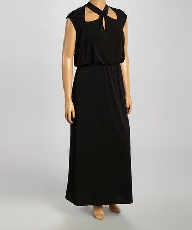 Look what I found on #zulily! Black Cutout Maxi Dress - Plus by Tiana B #zulilyfinds