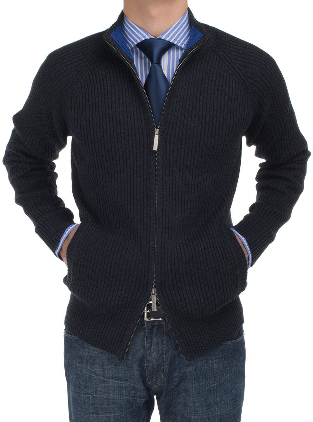 Bianco B Men's Cotton Mock Neck Full Ribbed Full Zip Cardigan ...