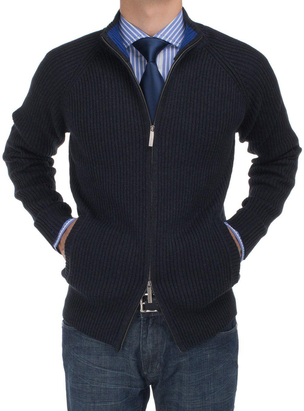 Bianco B Men's Cotton Mock Neck Full Ribbed Full Zip Cardigan ...