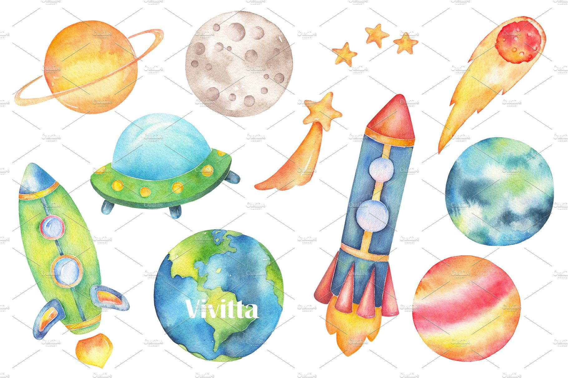 Space Watercolor Clipart Collection Space Watercolor Watercolor
