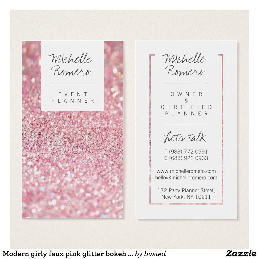 Modern girly faux pink glitter bokeh event planner business card ...