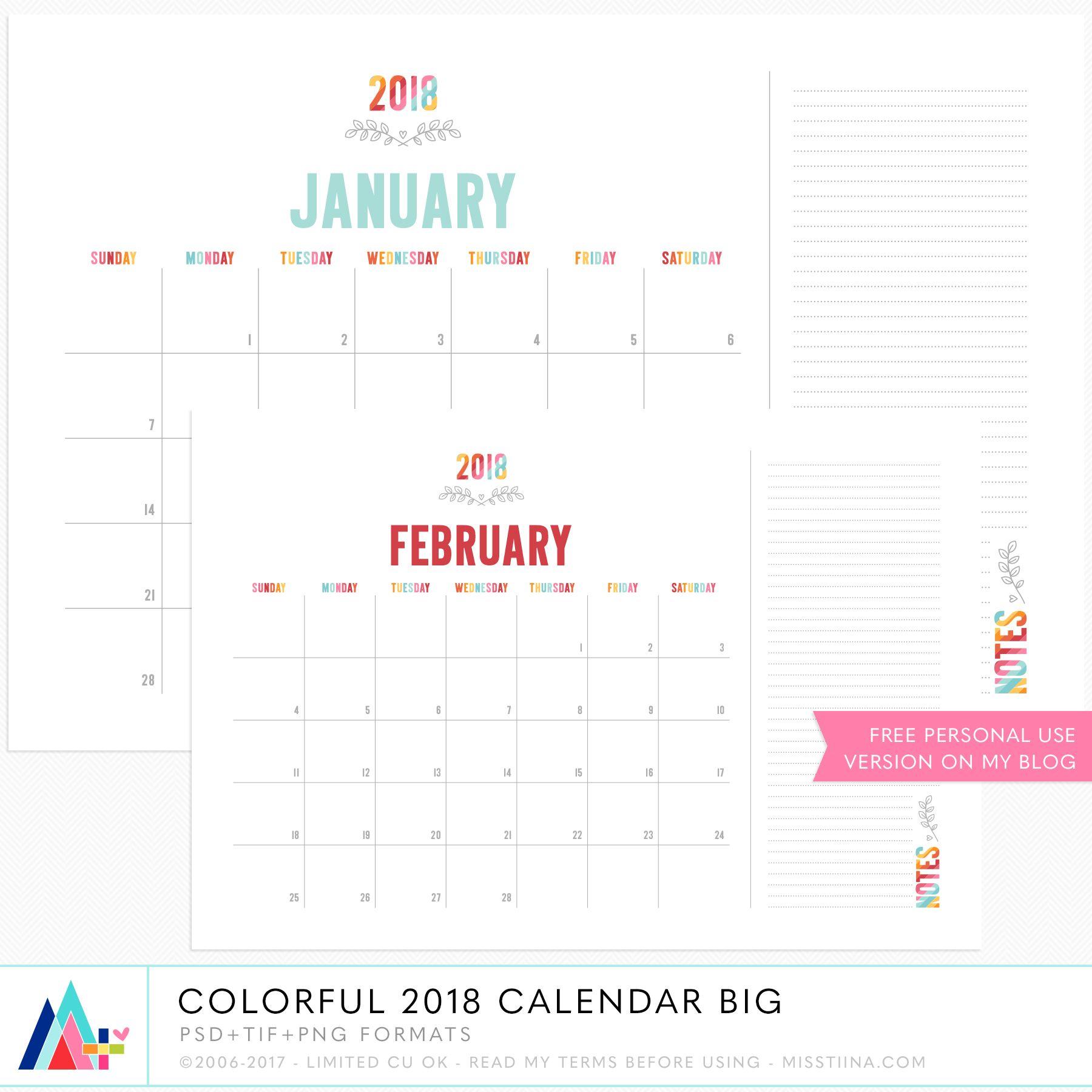 Colorful 2018 Big Calendar Cu By Miss Tiina New Cu Goods