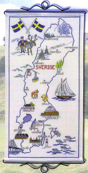 Map Of Sweden 14 Count Aida Cross Stitch Landkarte