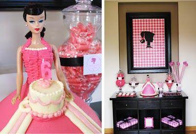 retro silhouettes plus a Barbie cake Barbie party theme