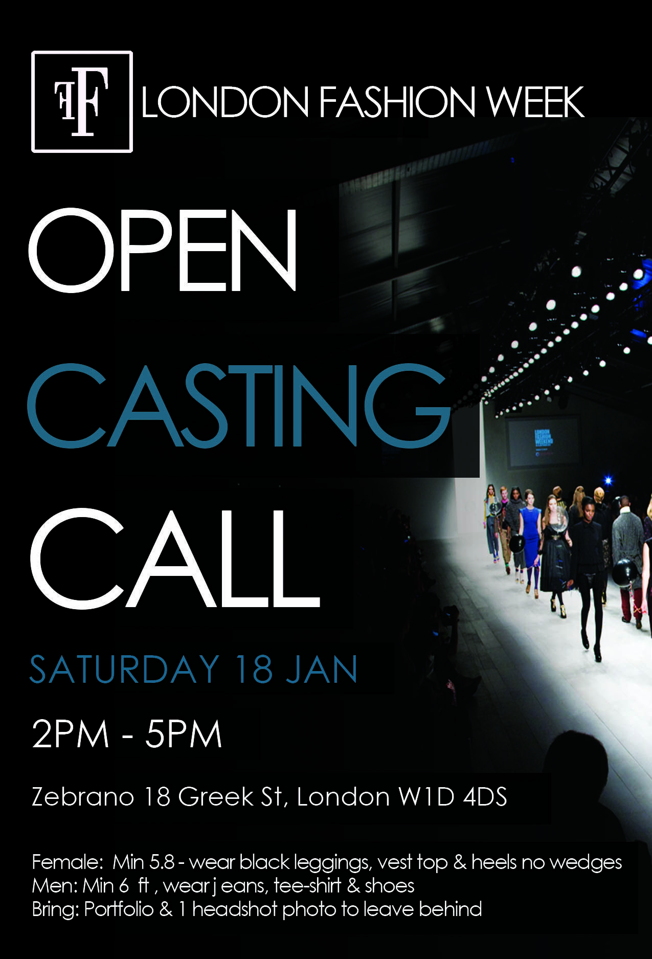 casting call opportunity for male and female models to walk at london fashion week 15