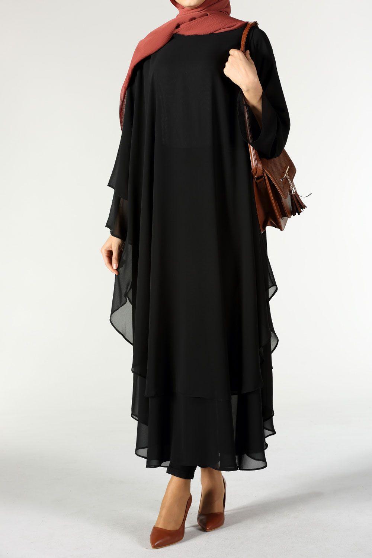 Allday Cift Katli Siyah Tesettur Tunik Modelleri Moda Tesettur Giyim Tunik Giyim Moda Stilleri