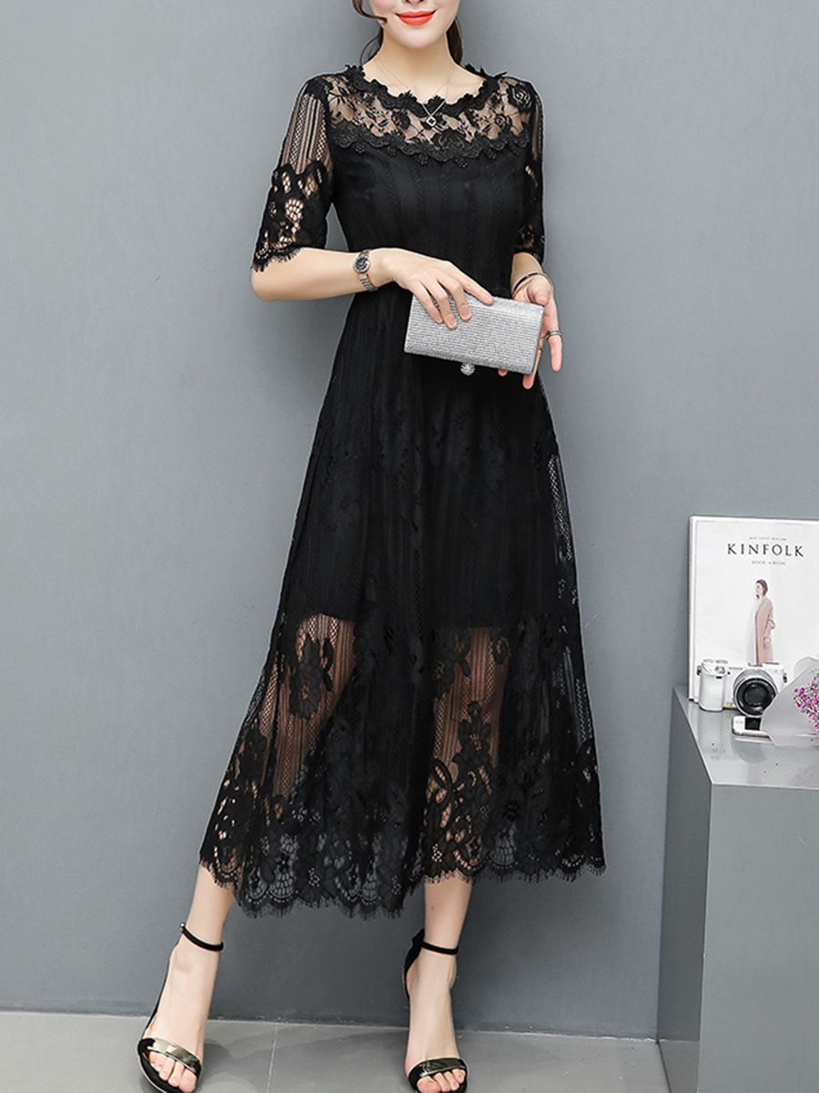 Round Neck See Through Plain Lace Maxi Dress Berrylook Cheap Maxi