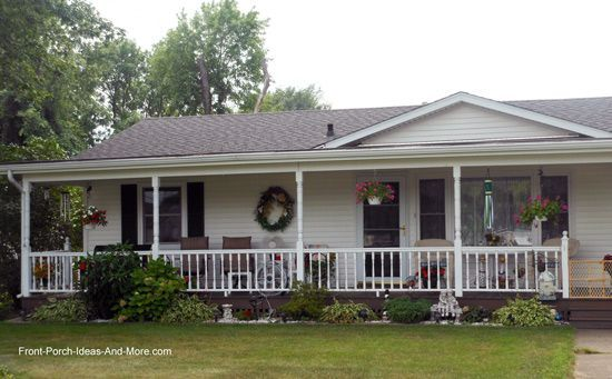 Here S An Example Of An Aesthetically Pleasing Front Porch With A Mansard Roof Ranch Style Homes House With Porch Front Porch Addition