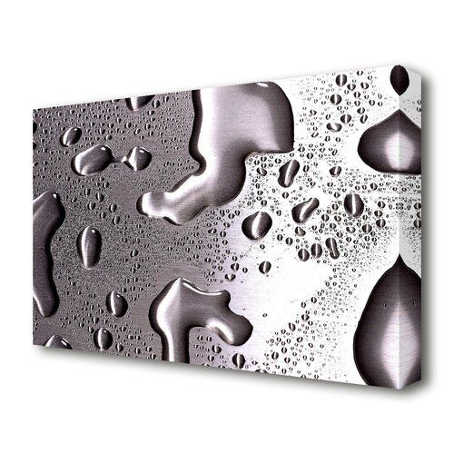 East Urban Home Water Drops On Silver Surface Graphic Art On Wrapped Canvas Canvas Artwork Wrapped Canvas Canvas