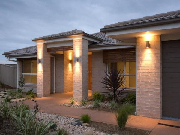 Lighting Stunning Modern Outdoor Entry Lighting Using Contemporary Exterior Sconces Mounted On Cream Stone Wall Tiles In Subway Pattern Also Square Columns