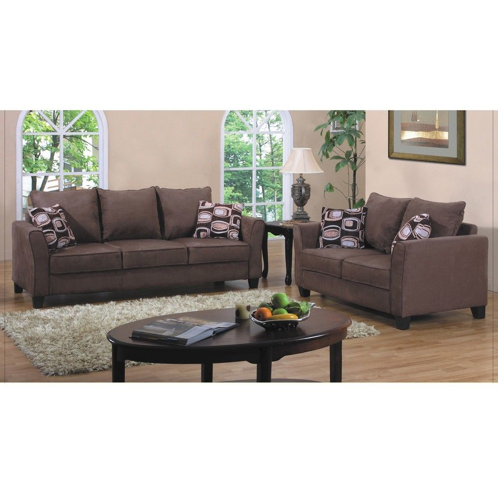 Fountain Valley Dark Brown Microfiber Sofa And Love Seat Set |  Overstock.com Shopping   The Best Deals On Sofas U0026 Loveseats