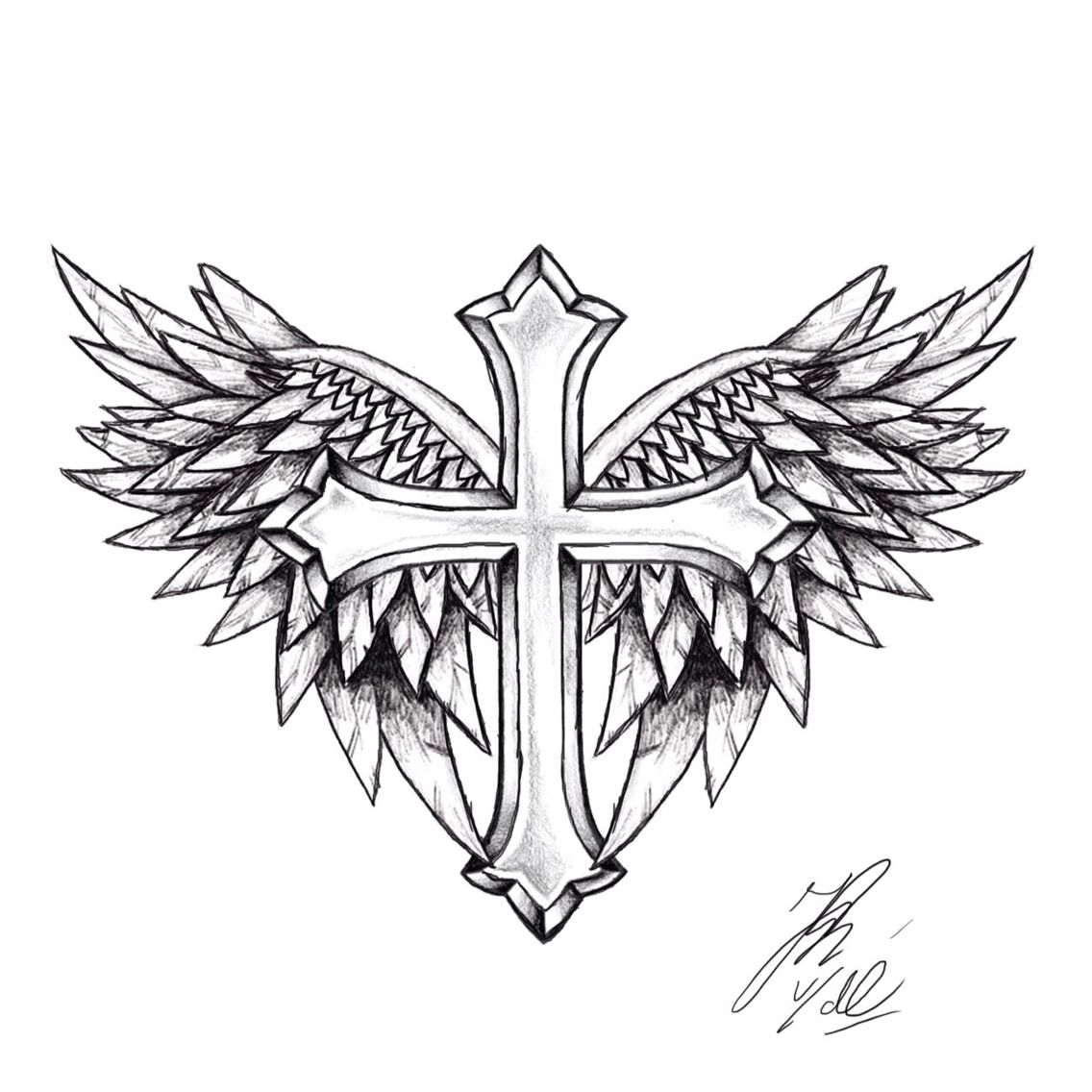 It is a photo of Lively Cross With Wings Drawing