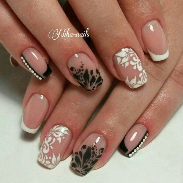 Beautiful evening nails, Black and white French manicure, Black and white nail…