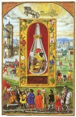 """O SOL é o regente do signo zodiacal do Leão, ao qual, segundo a inscrição na base do pedestal, deve ser atirada a matéria como forragem.   As asas verdes do monstro, na versão original de Glockendon, confirmam a tese de Hartlaub de que se trata aqui de uma representação do vitríolo verde, um ácido sulfuroso fortemente corrosivo, conhecido sob o nome código de 'leão verde'. """"Dai ao dragão vivo o leão feroz para que o devore""""."""