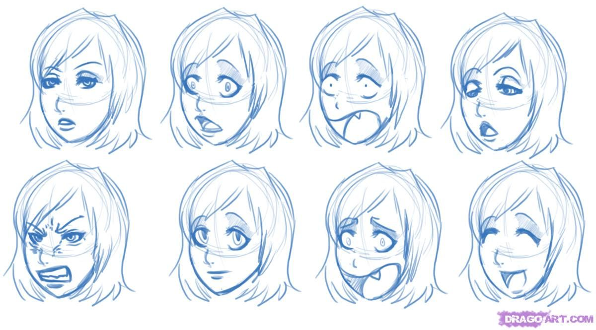 Anime Head Reference Image Expressions Step By Step Anime Heads Anime Draw Japanese Anime Eye Drawing Manga Drawing Face Drawing