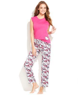 Hello Kitty Ruffle Trim Sleeveless Top and Satin Pajama Pants Set