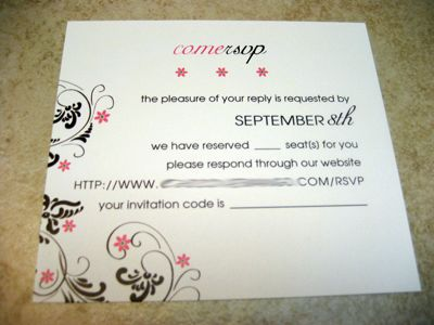 rsvp card which addresses online RSVP and the amount of guests are
