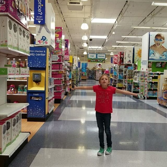 We are at TRU (Toys R Us) and Emily was so excited to see WW she dropped her phone and then she saw JG dolls for the first time. Not sure having AG here is such a good idea.  Emily is liking the $34.99 blonde Journey Girl.  1st time she has ever liked a blonde doll other than her only blonde doll, Caroline!  AG Megabloks on sale buy 1 get 1 40% off until 9/17!  We left with a few MegaBloks girls.