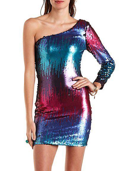 One Shoulder Bodycon Sequin Dress charlotterusse #charlottelook ...