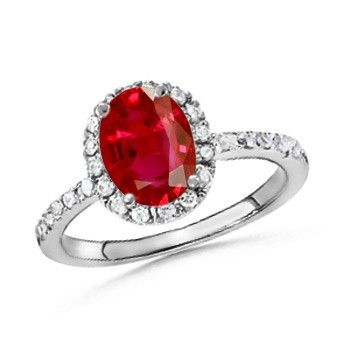 Angara Cushion Ruby Engagement Ring in White Gold RCB9QU