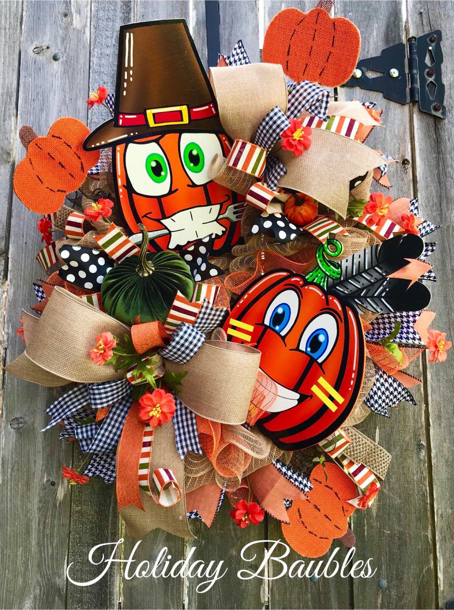 Fall Pilgrim Wreath, Fall Burlap Wreath, Harvest Pilgrim Wreath, Thanksgiving