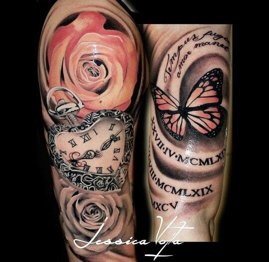 Beauty Arm Tattoo heart Butterfly Clock Rose