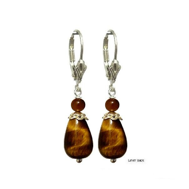 Tiger Eye Brown Teardrop Earrings, Pendants Charm - Choose Style - Handmade - Natural Stones - Jewelry - FREE SHIPPING de ArtGemStones en Etsy