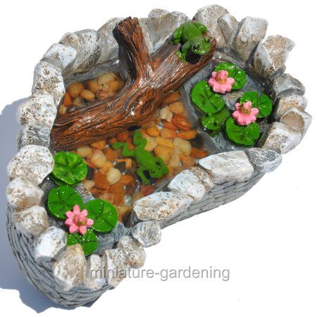 Georgetown Home U0026 Garden Miniature Fairy Garden Lily Pad Pond With Frogs