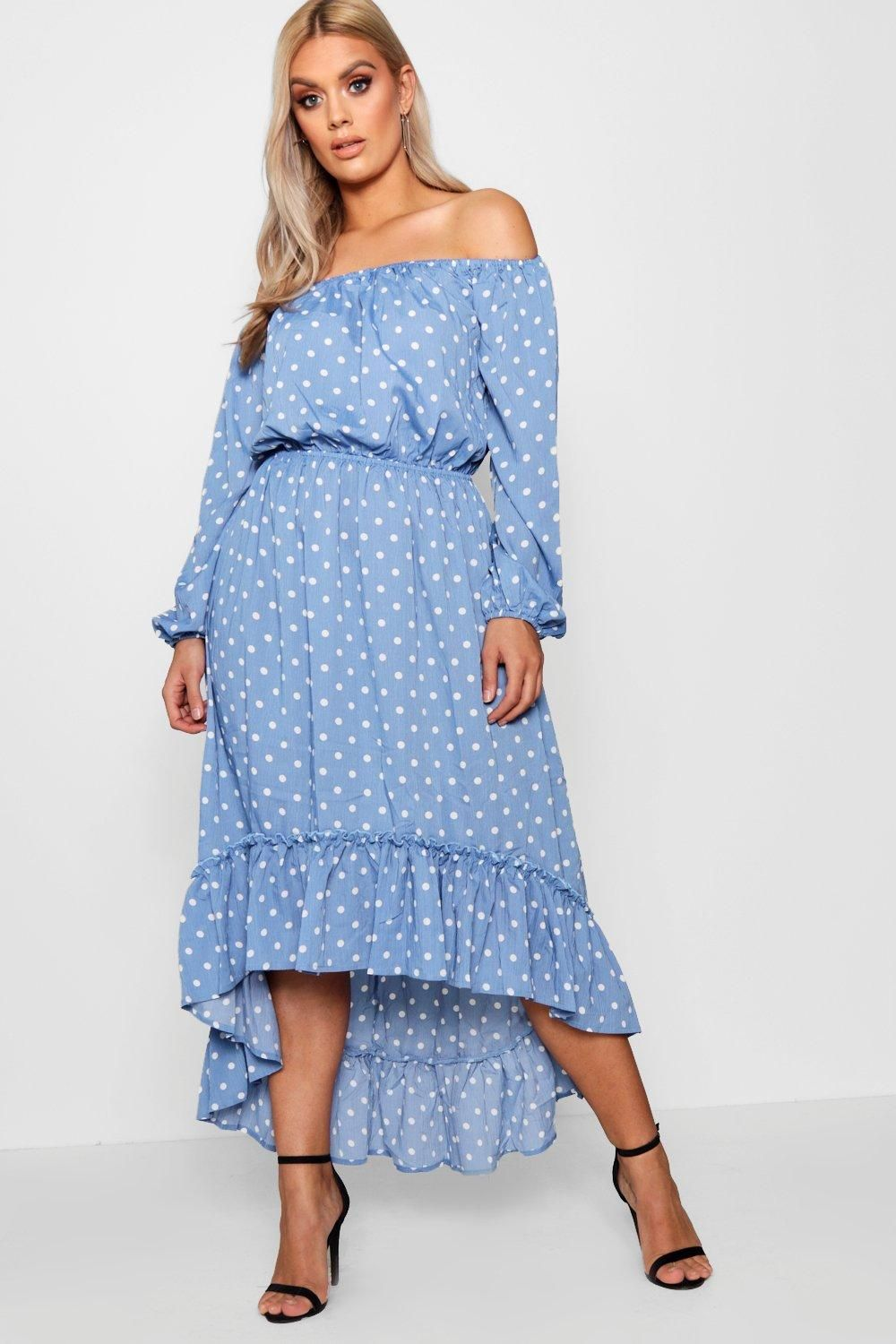 75f04aff61 Click here to find out about the Plus Spotty Ruffle Off Shoulder Maxi Dress  from Boohoo, part of our latest Plus Size & Curve Clothing collection ready  to ...