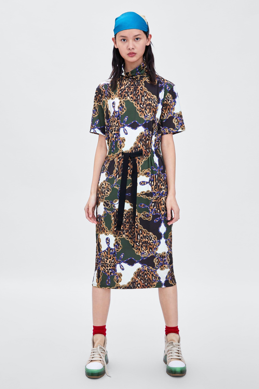 Vestido Combinado Imagen Zara Estampado De 1 Cadenas rwrIUEn