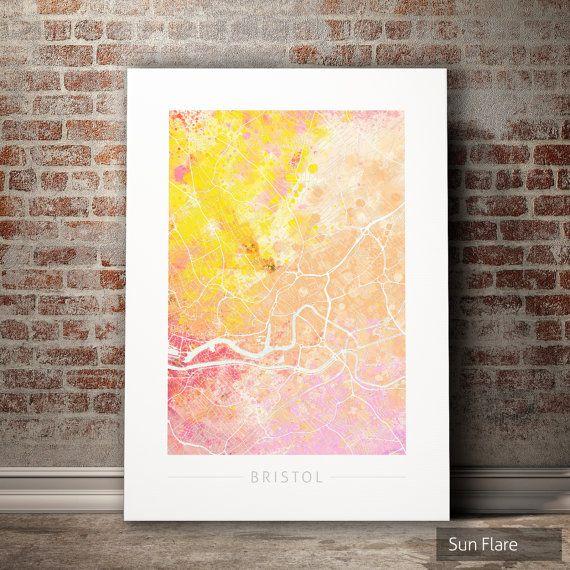 Bristol Map - City Street Map of Bristol, England - Art Print ...