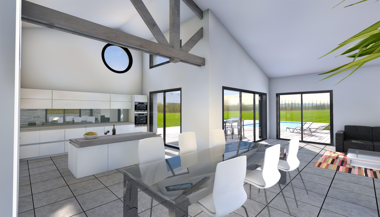 Maison poutres apparentes design contemporain La Chaume | Poutre ...