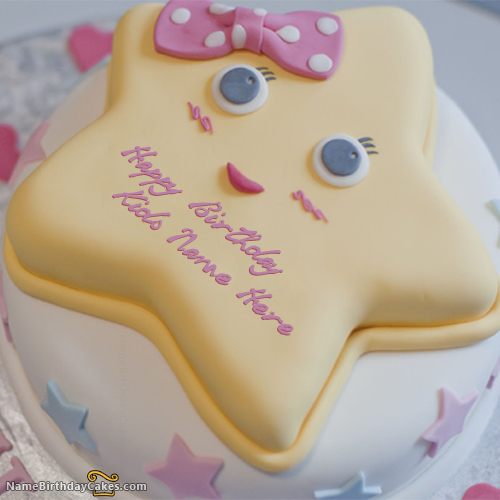 Write name on Star Birthday Cake For Kids Happy Birthday Wishes