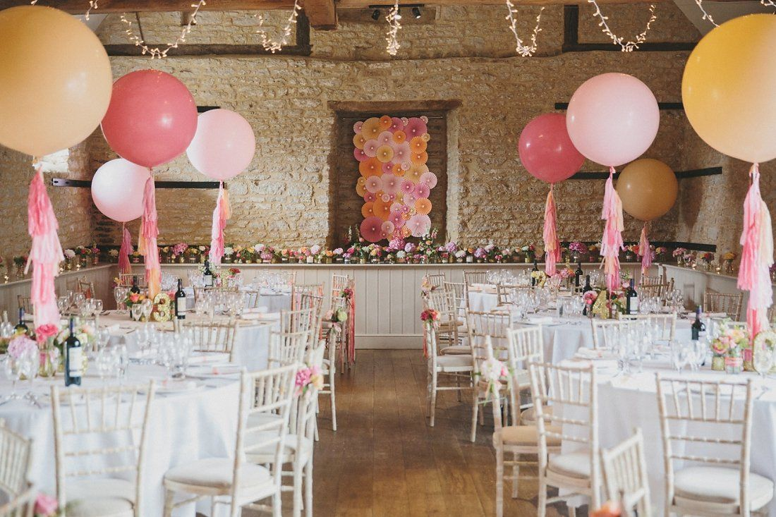 Multi Colored Yello And Pink Dazzling Balloon Wedding Centerpiece